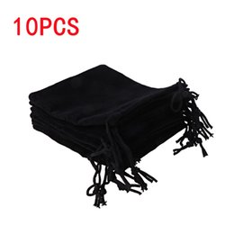 Wholesale Cloth Jewelry Bags Pouches - 10 Pcs Large Velvet Cloth Classical Black Jewelry Pouches Bags With Drawstrings T44