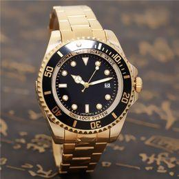 Relojes deportivos amarillos online-SEA-DWELLER marca de relojes automáticos de lujo de alta calidad del hombre deportivo reloj cronómetro de deportes de color amarillo luz dorada puerto 44mm reloj de cuarzo