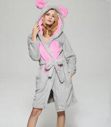 Wholesale sexy winter nightgowns - women Bathrobe robe cartoon pajamas nightgown hooded robe bathrobe leisurewear flannel winter thick