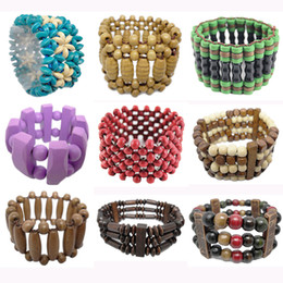 abacus gifts Coupons - Wooden Bead Bracelet 41 Styles Mix Stretch Strands Chain Watch Style Three Four Five Rows Colorful Round Abacus Wood Beads Bracelets (JM013)