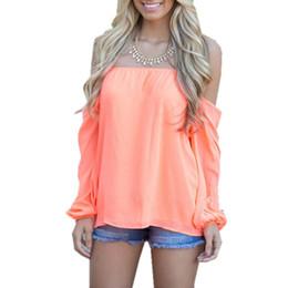 Wholesale Women Off Shoulder Puff Sleeve - Women Off Shoulder Puff Sleeve Chiffon Blouse Tops 2018 Sexy Slash Neck Loose Spring Summer Shirts Blusas