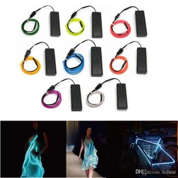Wholesale Bulb Neon - 10 Colors 1m 2m 3m 5m EL Wire Tube Rope AA Battery Powered Flexible LED Strip LED Lamp Neon Cold Light Car Party Wedding Decor