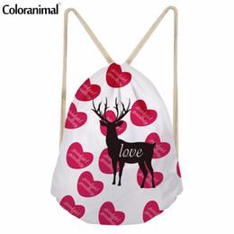 Wholesale cute cartoon dog backpack - Coloranimal Cute Silhouette Cat Dog Pattern Drawstring Bags Student Small Drawstring Backpack Cartoon School Bags Women Bolsa