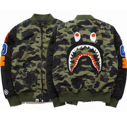 Wholesale Japanese Style Jackets - Wholesale new style brand shark cotton jacket Japanese air force MA1 flight suit men Baseball Jacket
