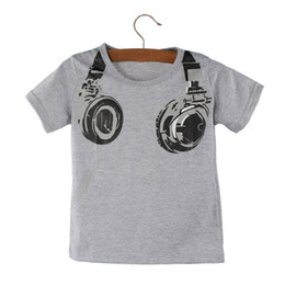 Летние наушники онлайн-Baby Boy Одежда Мальчик Дети Лето Повседневная Наушники Футболка с коротким рукавом