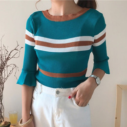 Wholesale Thin Summer Sweaters - New 2017 4 Colors Women Sweater Knitwear O-neck Flare Sleeve Thin Pullover Tricot For Summer Autumn C78501