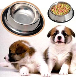 Wholesale travel dishes - Dog Puppy Pet Bowl Stainless Steel Food Water Non Slip Cat Feeder Dish Container FFA284 50PCS