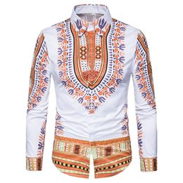 Wholesale Ethnic Clothes Men - New African Men Traditional Dashiki Printed Slim Clothing Black White Long Sleeve Turn Down Collar Shirt Ethnic Top HY-011