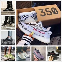 Wholesale oxford free - Original 2017 SPLY-350 Boost V2 New Kanye West Boost 350 V2 SPLY Running Shoes Zebra 350 v2 Boost Oxford Tan Free