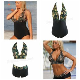 9fcc24311e 6pcs Sexy Halter Bikini Set Swimwear Women Push up Swimsuit Camouflage  Print Beach Bathing Suits MMA205