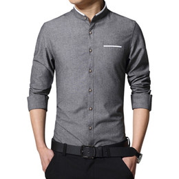 Wholesale korean clothing mens dress shirts - New Fashion Casual Men Shirt Long Sleeve Mandarin Collar Slim Fit Shirt Men Korean Business Mens Dress Shirts Men Clothes M-5XL