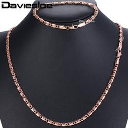 Rosa amarilla conjuntos de joyas online-Davieslee 5 mm para mujer collar pulsera conjunto de joyas caracol 585 rosa amarilla llena de cadena GS182