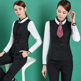 Wholesale Work Uniforms Lady - Plus Size 4XL Professional Formal Pantsuits Business Women Work Wear Suits Vest + Pants  Skirt Ladies Blazers Outfits Uniforms