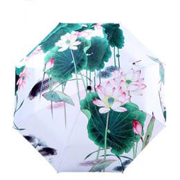 Paraguas tradicionales online-Paraguas de pintura tradicional china pintura al óleo anti-uv loto sombrillas parasol
