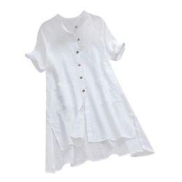 Pantaloncini di lino donna online-Womens Bottoni Camicetta Asimmetrica Manica Corta Femminile Scollo AV Casual Estate Lino Cotone Top Camisas Mujer Plus Size A4