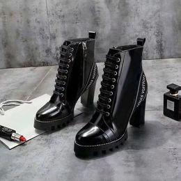 Ультра-носимых Star Trail ботильоны лакированная кожа Botas женщин коренастый каблуки Мартин сапоги зима теплая обувь Botas открытый пешие прогулки сапоги от