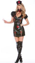 Argentina Mujeres adultas de Halloween traje de enfermera erótica negro PVC Vinyl Sexy Body Outfit corto de lujo Bodycon vestido con máscara para niñas supplier women sexy halloween costumes nurse Suministro