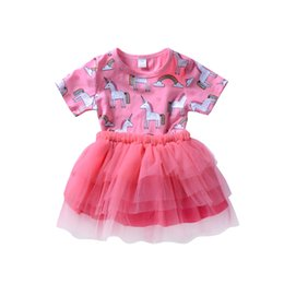 Wholesale star baby dress - Cute Baby Girls Unicorn Princess Tutu Dresses Tulle Girl Boutique Clothing Toddler Clothes Party Wedding Stars Girl Dress Kid Clothes