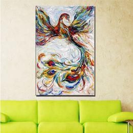 2019 pinturas de phoenix Arte decorativa Handmade Animal beleza Phoenix Pintura A Óleo Sobre Tela Sala de estar Decoração de Casa Pinturas de Parede Imagens de Animais pinturas de phoenix barato
