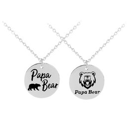 Wholesale papa jewelry - Papa Bear Engraved Pendant Family Necklace Father's Day Gift Birthday Present Memorial Gift Mens Boys Jewelry