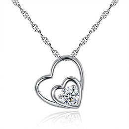 Wholesale Necklaces 925 - Fashion 925 Sterling Silver Heart Necklace Women Slides Quartz Crystal Pendant Necklaces Designer Love Necklace Snap Jewelry