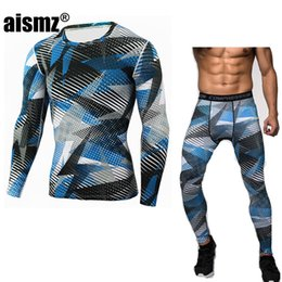 Wholesale Thermo Underwear Set - Aismz New Winter Thermal Underwear Sets Men Quick Dry Anti-microbial Stretch Men's Thermo Underwear Male Warm Long Johns Fitness