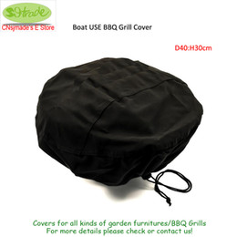 Wholesale use boats - Boat USE BBQ Grill Cover 2 pc,D45XH30cm,Black color waterproofed Oxford fabric,drawstring closure.Barbecue Grill Protector Cover