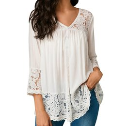 37d33767f10 Womens Tops and Long Sleeve Blouses 2018 Streetwear Lace Patchwork Tee  Shirts Tunic Ladies Top Korean Fashion Womens Clothing