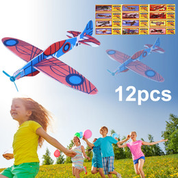 Wholesale Toy Glider Planes Kids - 12Pcs DIY Hand Throw Flying Glider Planes Foam Aeroplane Model Party Bag Fillers Kids Toys Children Game