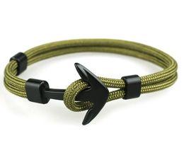 bracelet d'ancrage à la main Promotion 12 Pcs Nouveau Minimalisme Noir Anchor Bracelet Hommes Corde Chaîne Pour Hommes Main Bijoux Accessoires Polyester Bracelets Bracelets Cadeau