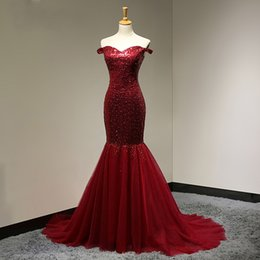 Wholesale Vintage Off Shoulder Maxi Dress - 2018 Burgundy Fashion Prom Dress Sequin Mermaid Long Formal Gowns Robe de Soiree Longue Customized Maxi Gown Sheath Dress