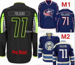 Wholesale mens star jacket - Factory Outlet Columbus Blue Jackets Mens Jerseys 71 Nick Foligno white blue navy All Star Black Best Quality Stitched Ice Hockey Jerseys