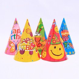 Wholesale Paper Pirates - Birthday Hat Cartoon Prince Princess Paper Caps Children Birthday Dress Hat Party Christmas New Year