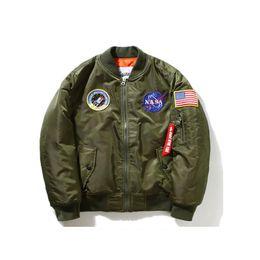 Wholesale Flight Jacket Xxl - Thin Fall-Flight Pilot Jacket Coat Bomber Ma1 Men Bomber Jackets Nasa Embroidery Baseball Military Coats M-4XL