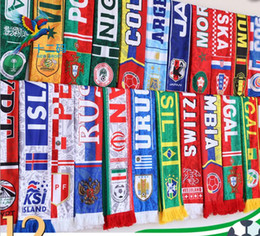 Wholesale Football Supplies - DHL 32 COLOR Russia World Cup 2018 Scarf football Soccer Scarf National Team flag Cheerleading Scarf Party Favor