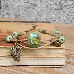 Wholesale Vintage Porcelain Bracelet - Ceramic Long Bracelets Handmade Fabric Stones Flowering Green Braided Rope Vintage Chinese Style Leaves Ceramic Beads Fashion Gift Jewelry