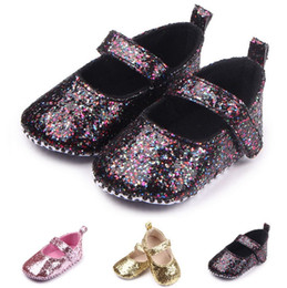 Wholesale Baby Crib Shoe Sizes - Fashion cute Bling sequin baby shoes toddler kid girl bowknot princess walking crib shoes baby first walkers