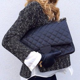 Wholesale price g - Fab Price XLarge Classial 33CM Maxi Black Genuine Caviar Leather Quilted Double Flap Fashion Shoulder Chain Bags Handbags G S Hardware