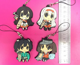 kantai collection figures Promo Codes - 4pcs lot kantai collection 2018 New Original Japanese anime figure rubber Silicone mobile phone charms key chain strap