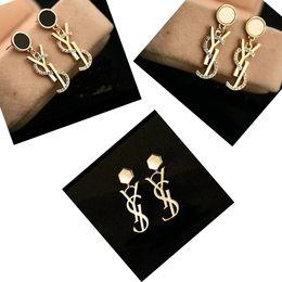 Wholesale Woman Ear Accessories - New Luxury Brand Designer Stud Earrings Letters Ear Stud Earring Gold Silver Jewelry Accessories Gift for Women Girls Free Shipping