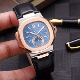 Wholesale wristwatch automatic vintage - High quality Luxury Brand Stainless Leather Strap Men Watches Vintage High Quality PP Watch Moon Phase Casual Nautilus Automatic Wristwatch