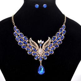 2019 royal china jewelry 6 Farben funkelnde Pfau Halskette Ohrring Sets - Retro Royal Style Frauen Luxus Schmuck Halsketten Set für Hochzeit Braut rabatt royal china jewelry