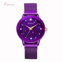 марка kimio Скидка Kimio  Ladies Magnet Suction Clasp Watch For Women Crystal Star Dial Dress Watches Stainless Steel Mesh Belt Watch