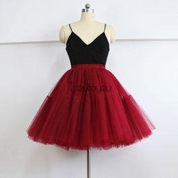 "Wholesale Womens Purple Tulle Skirt - Quality 5 Layers 21.5"" Midi Tutu Tulle Skirts Womens Pleated Skirt Vintage Party Skirt Retro Lolita Petticoat saias faldas jupe"
