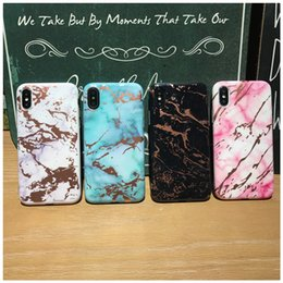Wholesale Gold Plated Phone Housing - Fashion Plated Back Cover Housing Shell Soft TPU Phone Protective Rose Gold Chrome Marble Case for iPhone X 6 6S 7 8 Plus