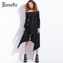 Abito gotico rosato Punk Rock Donna Autunno Nero Asimmetrico Steampunk  Streetwear Moda Sexy Club Casual Vestito Harajuku Goth 092e62109a5a