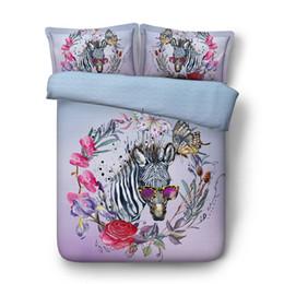 Wholesale girls comforter covers - zebra horse comforter bedding set 3d oil painting flower bed linens twin full queen cal king size duvet covers girl adult decor
