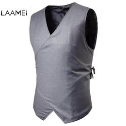 Laamei Marke Drawstring Button Kleid Anzug Weste Männer Solide Hochzeit Anzug Westen Einfache Design Solide Formale Westen Top Frühling von Fabrikanten