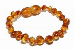 Wholesale Beads Amber - baby teether 15cm 5 colours Natural Amber bracelet Supply Certificate Authenticity Genuine Baltic Amber Beads Baby bracelet Jewelry