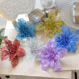 Wholesale Lighted Christmas Topper - Simulation Flower 1PCs Bag Xmas Tree Decoration Flowers DIY Style Christmas Tree Toppers Home Decor Wedding Suppliers